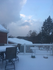 View of a snow-covered deck and partly cloudy sky.